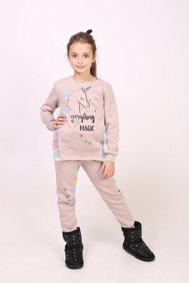 Теплый костюм для девочки Единорог 122 -134 рост Турция