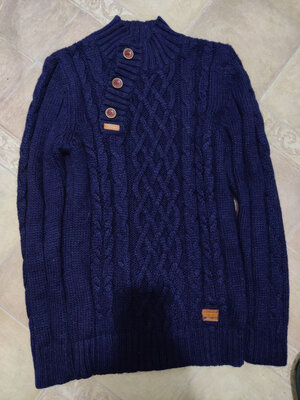Вязанный теплый шерстянной свитер/кардиган/ворот апаш/Red Bridge/p.L- 48