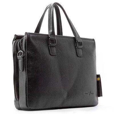 Портфель-Сумка кожаная для документов, ноутбука черная Giorgio Armani 6619-15
