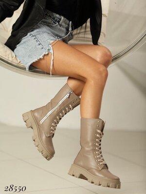 Женские натуральные кожаные белые бежевые чёрные высокие ботинки на шнуровке на тракторной подошве
