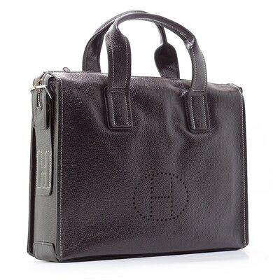 Портфель-Сумка кожаный для документов, ноутбука черный 2804
