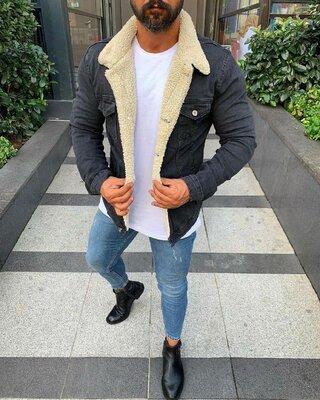 Куртка мужская, джинсовый пиджак на меху демисезон/еврозима