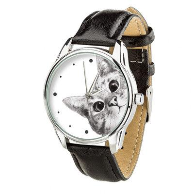 Часы ZIZ Эй, Кот ремешок насыщенно-черный, серебро и дополнительный ремешок