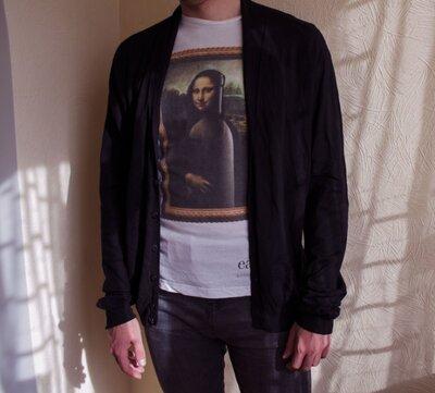 Продано: Мужской чёрный кардиган на пуговицах Zara Man