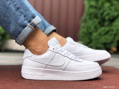 Nike Air Force кроссовки мужские демисезонные белые 9871