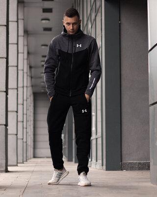 Утеплённый спортивный костюм Under Armour чёрный с серым