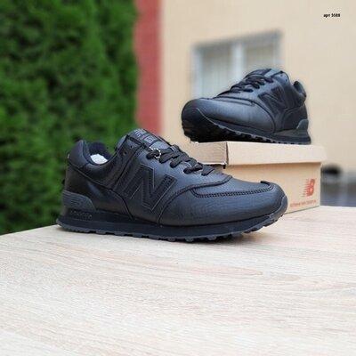 Зимние кроссовки на меху New Balance 574 чёрные 41-46р