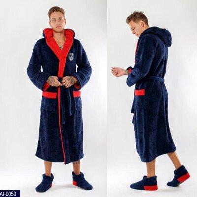 Мужской халат длинный с двойным капюшоном на запах AI-0050 расцветки