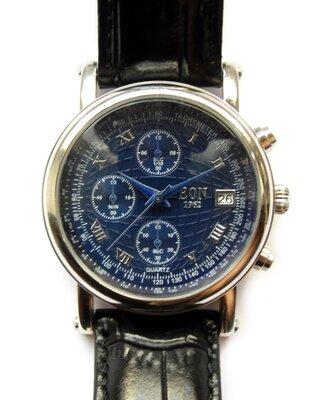 EON 1962 часы из Сша 4 циферблата хронометр кожа дата Wr50m