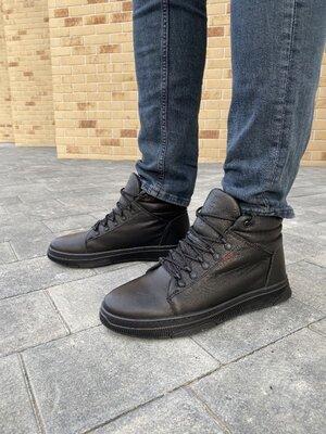 Мужские ботинки кожаные зимние черные StepWey 7260Т