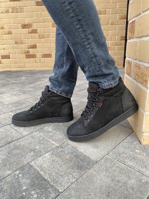 Мужские ботинки кожаные зимние черные-матовые StepWey 7260
