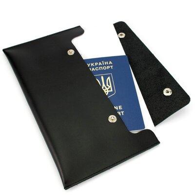 Тревел-Конверт Для Путешествий Кожаный На Кнопках ST Черный