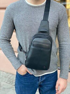 Продано: Мужская кожаная нагрудная сумка слинг через плечо H.T. Leather чоловіча шкіряна чёрная чорна