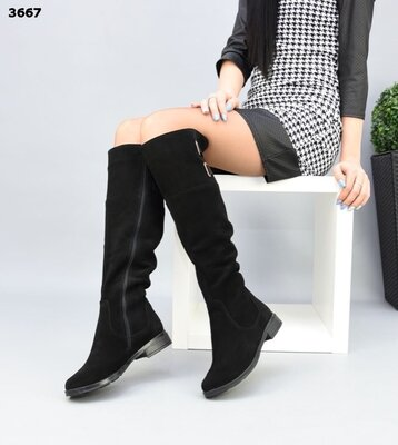 Женские натуральные замшевые кожаные чёрные сапоги ботфорты на низком ходу