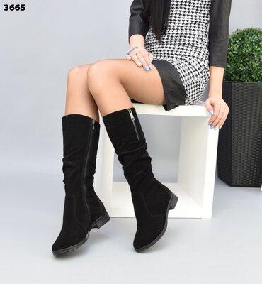 Женские натуральные кожаные замшевые сапоги сапожки на молнии на низком ходу