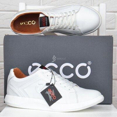 Кроссовки мужские кожаные Ecco Экко белые на шнуровке
