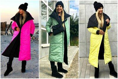 Тёплый двухсторонний пуховик, пальто одеяло, 3 расцветки, 42 - 52