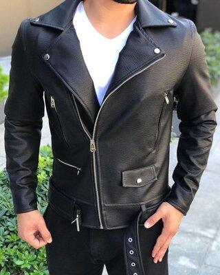 Европейское качество. Мужская кожаная куртка косуха кожанка c 61