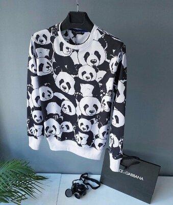 Европейское качество. Варианты. Свитшот кофта реглан белый с пандами черно-белый jb17
