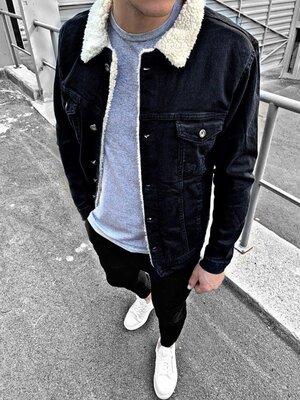 Варианты. Шерпа. Стильная мужская джинсовка на меху / мех / джинсовый пиджак черный c26 6В