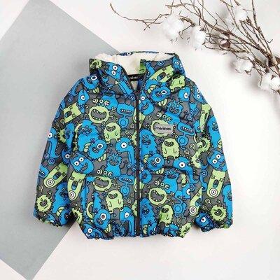 Детская демисезонная куртка на меху для мальчика на мальчика Монстрики