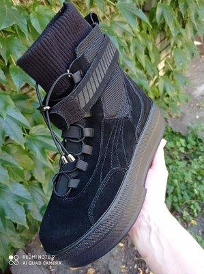 Продано: Женские ботинки натуральный замш термо