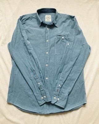 Голубая рубашка с длинным рукавом в клетку Tom Tailor