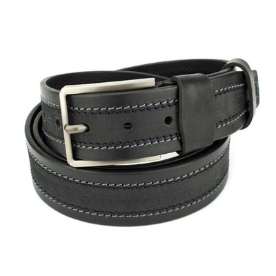 Ремень мужской кожаный со строчкой черный SF-403 125 см