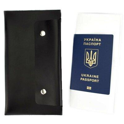 Продано: Тревел-Конверт для путешествий кожаный на кнопках ST черный