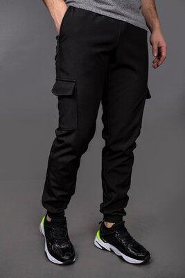 Штаны карго Softshell Intruder черные, утеплённые брюки джоггеры, 3 цвета