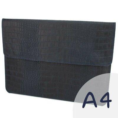 Папка-Конверт для документов кожаная А4 Crez-801 синий крокодил