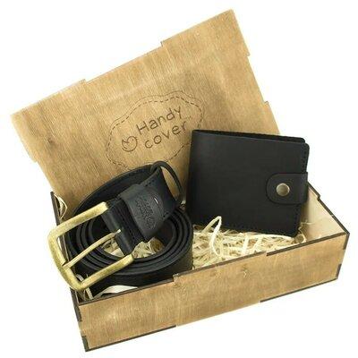 Продано: Мужской подарочный набор Handycover 40 черный ремень и портмоне