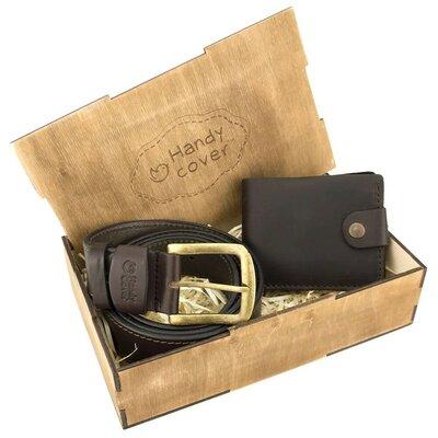 Мужской подарочный набор Handycover 40 коричневый ремень и портмоне