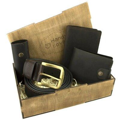 Мужской подарочный набор Handycover 41 коричневый ремень, портмоне, обложка, ключница