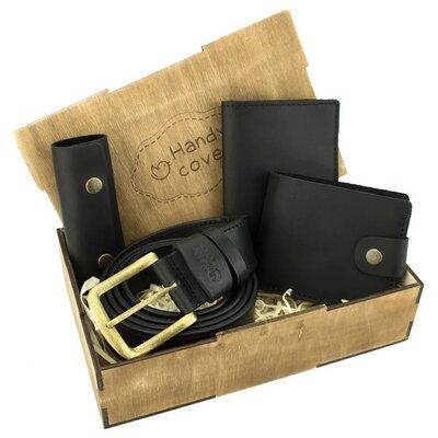 Мужской подарочный набор Handycover 41 черный ремень, портмоне, обложка, ключница