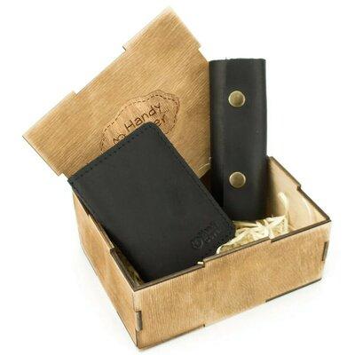 Продано: Мужской подарочный набор в коробке Handycover 43 черный ключница, обложка на ID паспорт