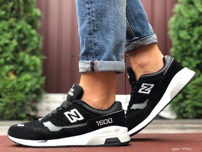 New Balance 1500 кроссовки мужские демисезонные чёрные с белым и серым 9916