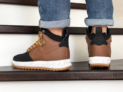 Nike Lunar Force 1 Duckboot кроссовки мужские демисезонные коричневые с черным 9918