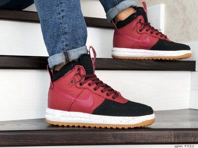 Nike Lunar Force 1 Duckboot кроссовки мужские демисезонные красные с черным 9921