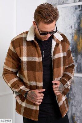 Стильная мужская куртка-рубашка на цигейке