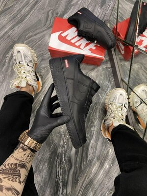 Кожаные мужские кроссовки Найк Nike, Топ качество, черные, р. 36-45, 002-2276