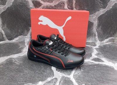 Мужские кроссовки Puma BMW черные.кожаные,осенние