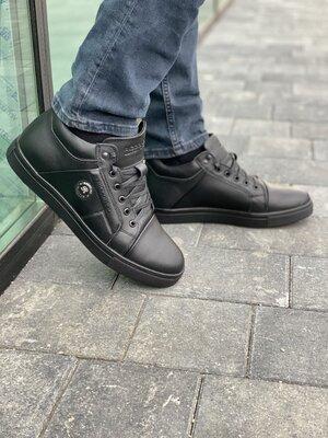 Мужские ботинки кожаные зимние черные Riccone 1217