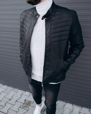 Мужская кожаная куртка черная