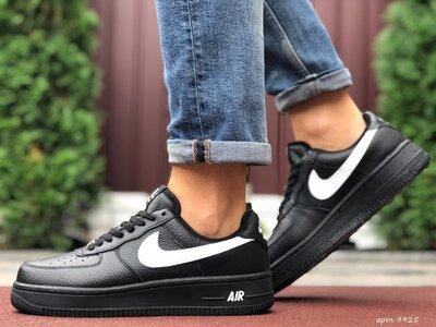 Зимние мужские кроссовки Nike Air Force, черные, зима, мех
