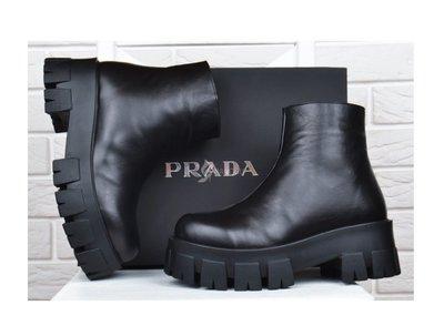 Ботинки женские кожаные Prada Прада на платформе черные 36-40р