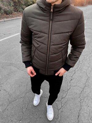 Зима. Европейское качество. Стильная мужская куртка с манжетами хаки vit 3