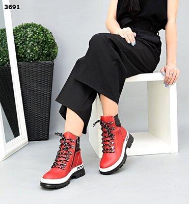 Женские натуральные кожаные красные белые чёрные ботинки на шнуровке на низком ходу