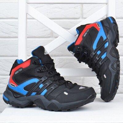 Термо ботинки кожаные детские Adidas Gore Tex Terrex на мембране чёрные с синим