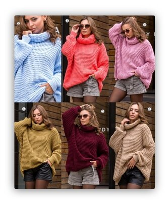 48-56, Свитер под горло, крупная вязка, Вязаный свитер оверсайз. Жіночий светр теплий. батал свитер